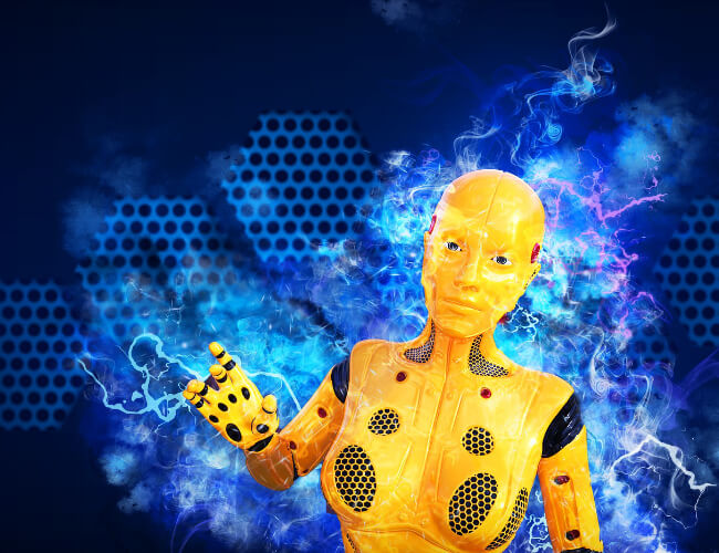 A machine learning robot with blue background