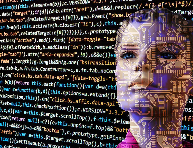 A screen of codes with a women robot affixed
