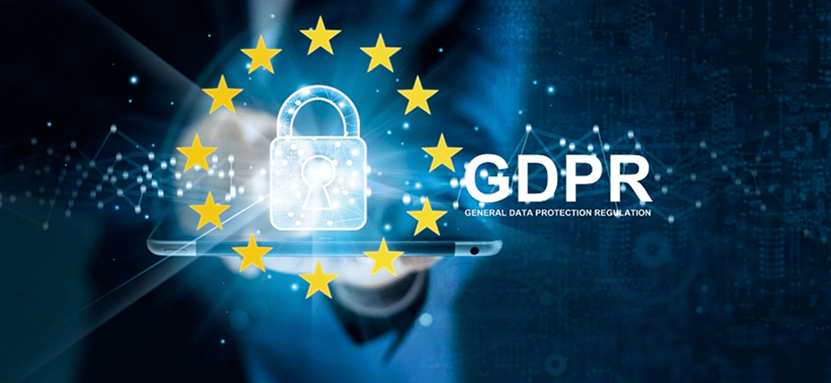 A man helding tablet with lock symbol and GDPR logo next to it