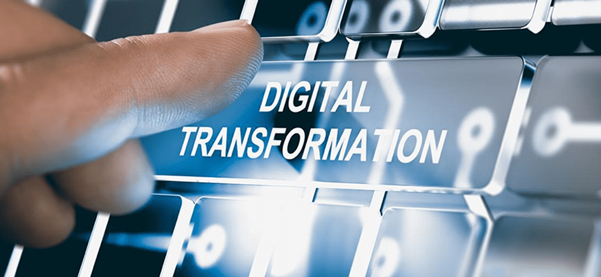A finger is about to press a button named as digital transformtion